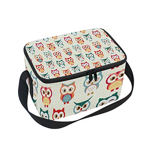 Insulated Lunch Bag Cute Boho Owl Patterns Colorful Lunchbox Thermal Handbag Food Container Cooler Reusable Outdoors Travel Work School Strap Lunch Tote