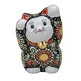 Jpanese traditional ceramic Kutani ware. Lucky charm ornament. Beckoning cat. Black mori. With paper box. ktn-K5-1571