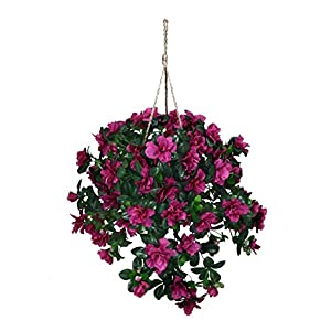 Artificial Cerise Azalea Hanging Basket 52