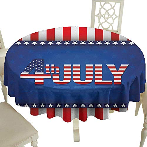 crabee Round Tablecloth Vinyl 4th of July,Independence Themed Holiday Design with United States of America Flag Pattern,Multicolor D36,for Baby Shower