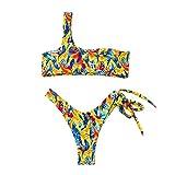 Swimwear for Women Print Swimwear Bikini Bathingsuit Swimsuit Tankini Beach Swimsuit Suit for Women Mother Bikini Swimsuit for Women Ladies Causal Swimwear Suit for Beach,Party (XL, Yellow)