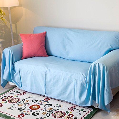 RUGAI-UE Sofa Slipcover Cotton sofa full cover sofa cover multi-color optional anti-skid,200×180 wide,Light blue