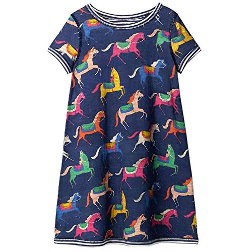 Toddler Girls Dress Cartoon Cotton Kids Unicorn Dress Christmas (5T, -