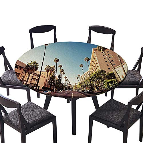 (Luxury Round Table Cloth for Home use Street in Beverly Hills California Palm Trees Houses Famous City Photo Light Blue for Buffet Table, Holiday Dinner 40