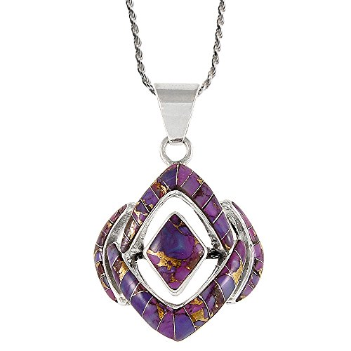 Turquoise Necklace 925 Sterling Silver & Genuine Purple Turquoise 20