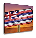 Ashley Canvas, Hawaii Flag Wooden Sign On Beach, Home Decoration Office, Ready to Hang, 20x25, AG6403747