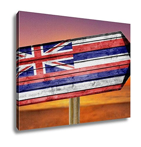 Ashley Canvas, Hawaii Flag Wooden Sign On Beach, Home Decoration Office, Ready to Hang, 20x25, AG6403747 by Ashley Canvas