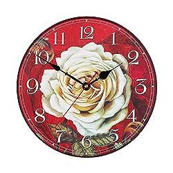 KI Store Silent Wall Clocks Non Ticking Large Round Decorative Clock (12, White Rose)