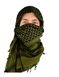 Mato & Hash Military Shemagh Tactical 100% Cotton Scarf Head Wrap - Olive Drab CA2100JUMBO