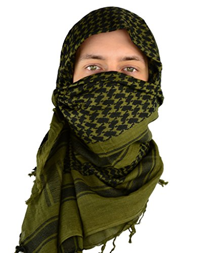 Mato & Hash Military Shemagh Tactical 100% Cotton Scarf Head Wrap - Olive Drab CA2100-3 ()