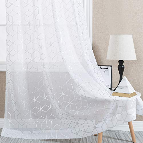 White Sheer Curtains for Living Room Foil Print Voile 63 inches Long Window Curtain Panels Bedroom Geometric Design Rod Pocket Brainy Pattern Curtain Sheers 2 Panels
