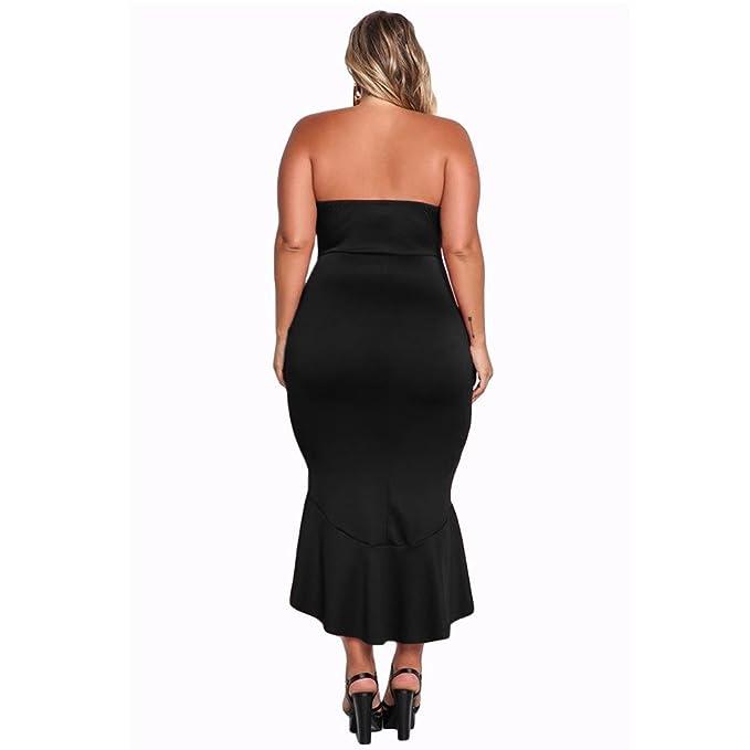 Vestido de tubo de cintura alta con cuello en V y cintura alta de BaronHong Women Sexy con dobladillo irregular (negro, XL): Amazon.es: Ropa y accesorios