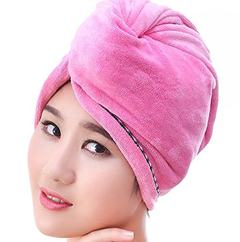 YTYC Super Absorbent Super Long Coral Velvet Increase Thicken Dry Hair Cap Dry Hair Towel(Pink)