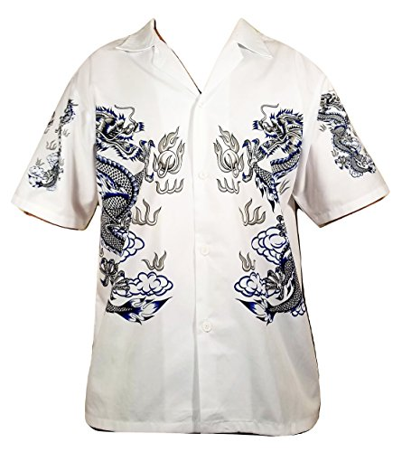 Summer Time Breeze Mens Cotton Short Sleeve Dragon Button Down Shirt (X-Large, White)