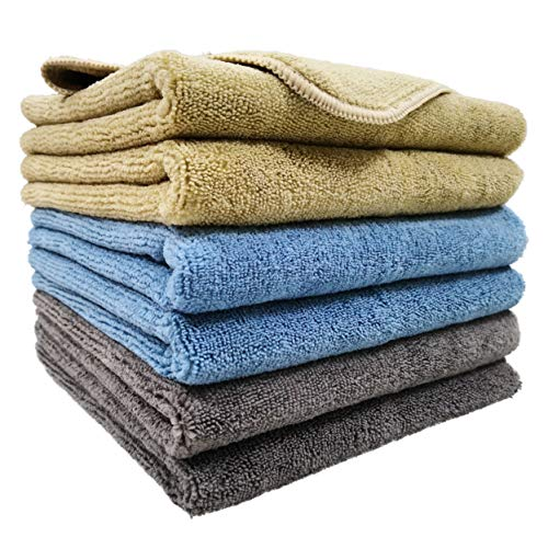 Polyte Microfiber Cleaning Towel (16x24, 6 Pack, Professional, Blue,Camel,Gray)