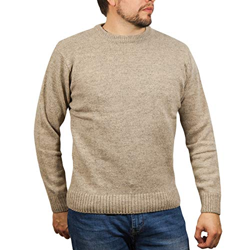 Boutique Retailer Men's Shetland Wool Crew Neck Cardigan Sweater Knitted Jumper Pullover (X-Large, Oat Marle)