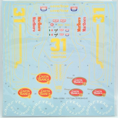 【TABU DESIGN/タブデザイン】1/20 ロータス TYPE 79 「REBAQUE」仕様 ※タミヤ用