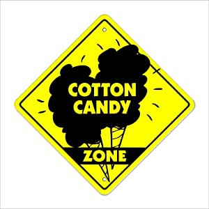 """Cotton Candy Crossing Sign Zone Xing   Indoor/Outdoor   12"""" Tall cart concession machine fair carnival candy foodie eat"""