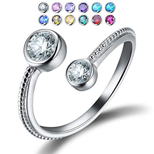 Esberry 18K Gold Plated 925 Sterling Silver Birthstone Adjustable Rings Birth Month Open Rings for Women and Girls