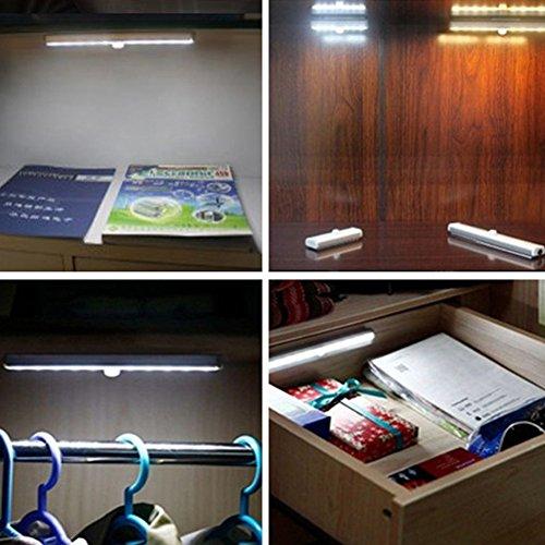 Closet Lights Touch Light,Wireless Motion Sensor Cabinet Lights 10-LED USB Rechargeable Closet Lights LED Under Cabinet Lighting(White) by cyclamen9 (Image #5)