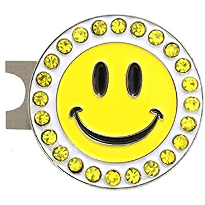 Giggle Golf Bling Happy Face Golf Ball Marker With A Standard Hat Clip
