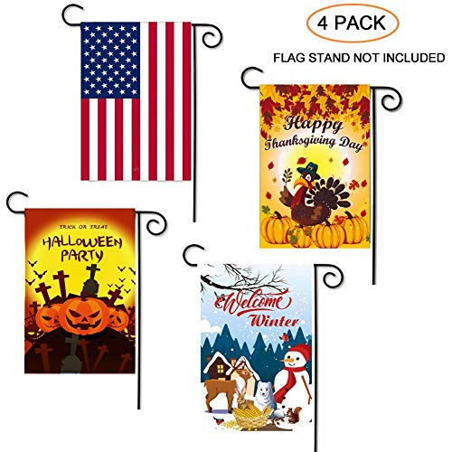 VIWIEU Small Garden Flag Holiday Welcome Yard Flag Outdoor Decor 12 x 18 Inch 4 Set, Double Sided Polyester Seasonal House Yawn Flags for July 4th Independence Day, Thanksgiving, Halloween, Christmas ()