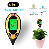 4-in-1 Soil Test Moisture Meter PH Levels Temperature Sunlight Lux Intensity Survey Instrument for Indoor Outdoor Garden Farm Lawn Plant Grain Flower Grass Care(battery not included)