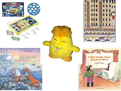 Childrens Gift Bundle   Ages 6 12  5 Piece    Operation Spongebob Edition Game   Radio City 500 Piece Puzzle   Neopets Chia Plush 6    Classic Fairy Tales Hardcover Book   I Wish Daddy Didnt Drink