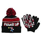 Super Mario Boys Beanie Hat and Gloves Set (One Size, Black)