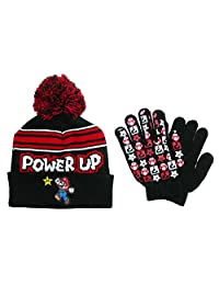 Nintendo Boy's Mario Brothers Hat and Glove Winter Set, Black