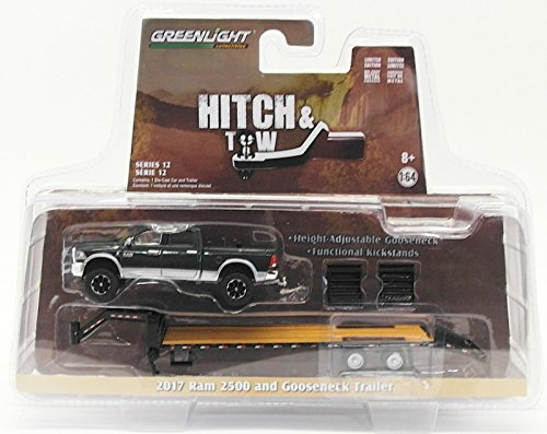 2017 Dodge Ram 2500 Pickup Truck and Gooseneck Trailer Hitch & Tow Series 12 1/64 Diecast Car Model by Greenlight 32120 D