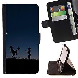 BullDog Case - FOR/Samsung Galaxy A3 / - / deti siluety noch myach igra /- Monedero de cuero de la PU Llevar cubierta de la caja con el ID Credit Card Slots Flip funda de cuer