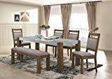 Roundhill Furniture D725-6PC-S725 Collection Costabella 7 PC Dining Set, Table with 4 Chairs and Bench and Server Review