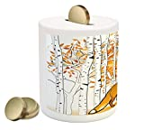 Ambesonne Hunting Piggy Bank, Fox Hunting in Autumn Forest Birch Trees Rustic Life Wilderness Animal, Printed Ceramic Coin Bank Money Box for Cash Saving, Orange White Black