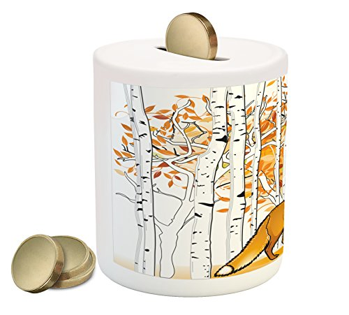 (Ambesonne Hunting Piggy Bank, Fox Hunting in Autumn Forest Birch Trees Rustic Life Wilderness Animal, Printed Ceramic Coin Bank Money Box for Cash Saving, Orange White Black)