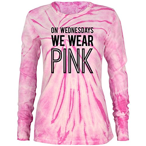 (On Wednesdays We Wear Pink Juniors Long Sleeve Thermal Shirt Pink Spiral Tie Dye MD)