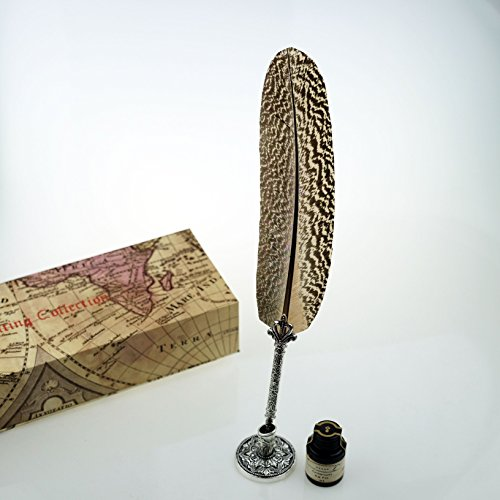 GC Quill Pen Beautiful Nuture Feather Metal Carving Pen Holder 6 Nibs Gift Set GCLL021 by GC Writing Quill (Image #5)