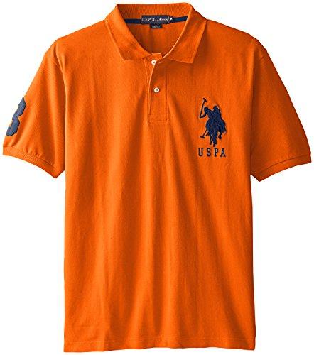 U.S. Polo Assn. Men's Solid Short Sleeve Pique Polo Shirt, Bright Orange, Large