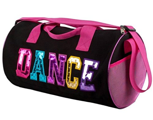 Black-and-Fuchsia-Dance-Duffel-Bag-with-Multicolored-Dance-Print