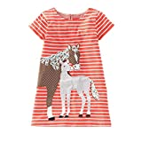 IsabelaKids Girls Cotton Long Sleeve Casual Cartoon Appliques Striped Jersey Dresses (2T, Orange Horse)