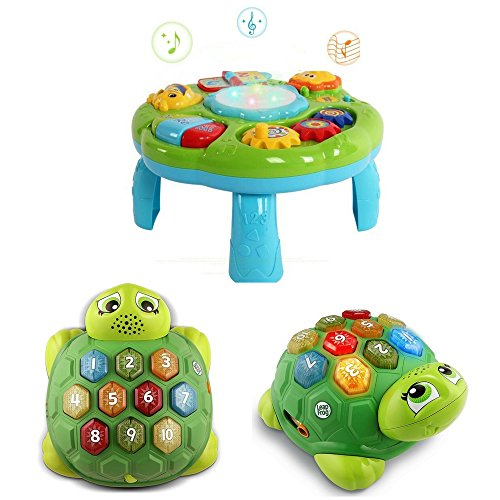 LeapFrog Melody The Musical Turtle and Hanmun Musical Learning Table Toy Bundle, Early Learning Fun Activity, Sassy Musical Instruments, Baby Educational Toys and Games, Let's Make Music Gift Set by LeapFrog