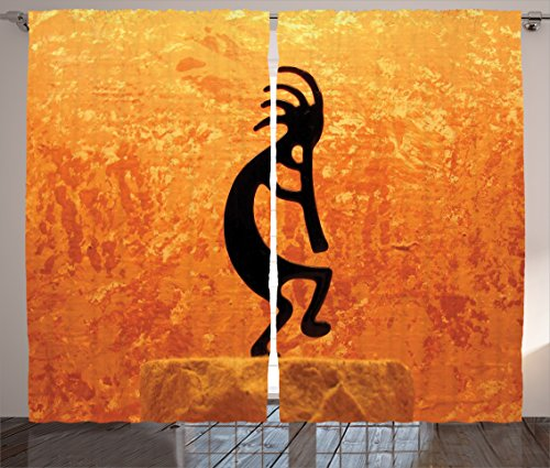 Ambesonne Kokopelli Decor Collection  Kokopelli Southwestern Style Native American Indian Ancient Belief Picture Art  Living Room Bedroom Curtain 2 Panels Set  108 X 90 Inches  Orange Black