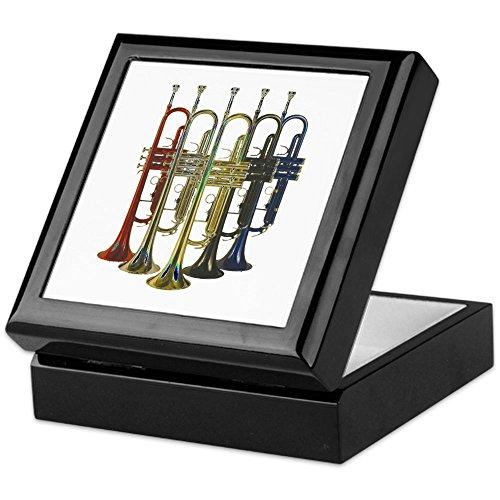 CafePress - Trumpets Multi - Keepsake Box, Finished Hardwood Jewelry Box, Velvet Lined Memento Box (Hardwood Box With Lid compare prices)