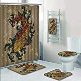 Philip-home 5 Piece Banded Shower Curtain Set Japanese Throw Asian Style Oriental Cold Water Koi Carp FishAquatic Theme on Distressed Throw Pattern Adornment