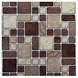 Truu Design Multi Square Peel and Stick Wall Tile, 10 x 10 inches Brown, 6 Pieces