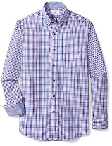 (BUTTONED DOWN Men's Classic Fit Supima Cotton Button-Collar Dress Casual Shirt, Purple/Blue Check, S 32/33)