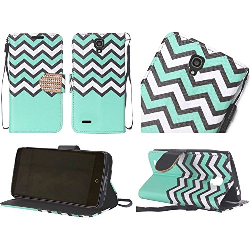 HR Wireless Carrying Case for Alcatel OneTouch Conquest - Retail Packaging - Teal Chevron (One Touch Phone Case Chevron)