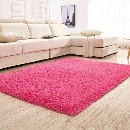 YJ.GWL Soft Shaggy Area Rugs for Bedroom Kids Room Children Playroom Non-slip Living Room Carpets Nursery Mat Home Dcor Rug 4 Feet by 5.3 Feet (Rose Red)