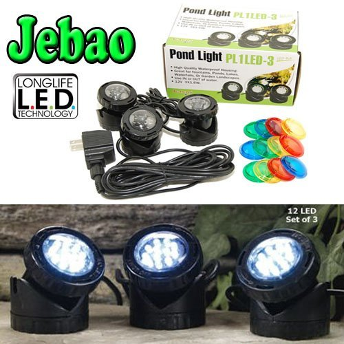 (Jebao  Submersible LED Pond Light with Photcell Sensor, Set of 3 )