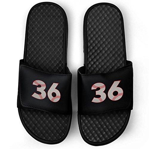 Baseball Stitch Slide Sandals | Custom Player Number Sandal | M7 | 48 (Slides Baseball)